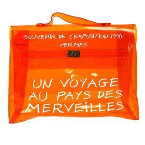 Authentic HERMES Vinyl Kelly Beach Hand Bag Orange